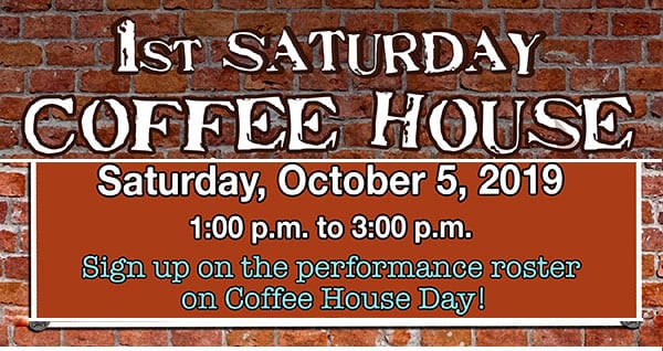 1st Saturday Coffee House at the Library returns Oct. 5