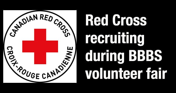 Canadian Red Cross recruiting at volunteer fair booth