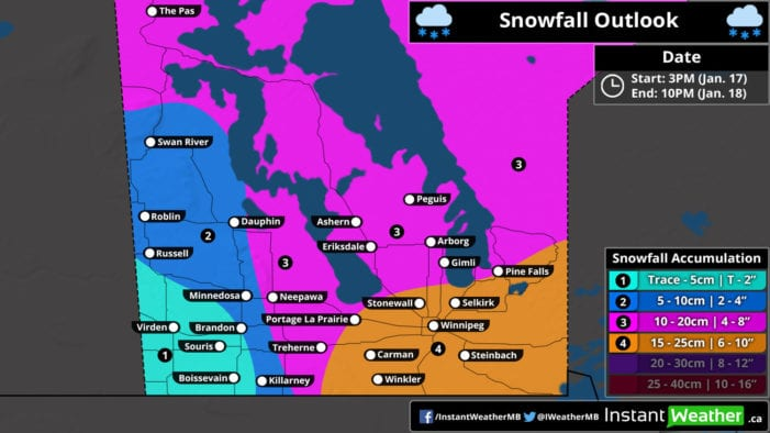 Winter storm moving into southern Manitoba