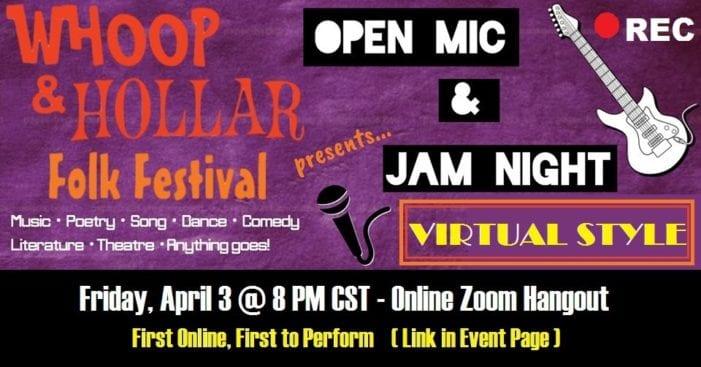 Whoop & Hollar Open Mic going online