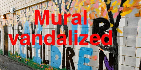 Pastoral public art scene vandalized